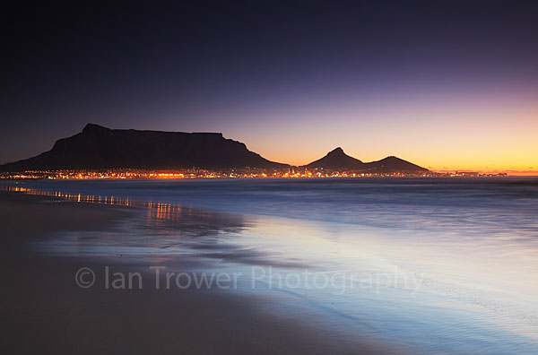 Table Mountain at sunset, Cape Town