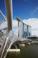 Helix Bridge and Marina Bay Sands Hotel