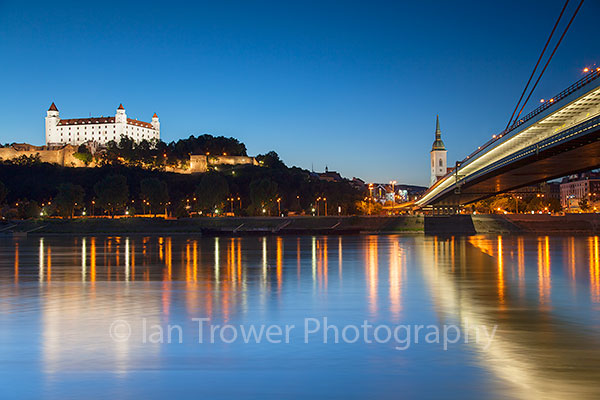 Bratislava Castle and New Bridge at dusk