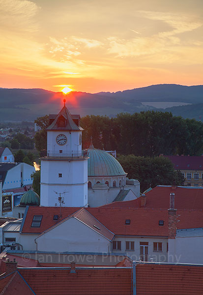 Town Gate at sunset, Trencin