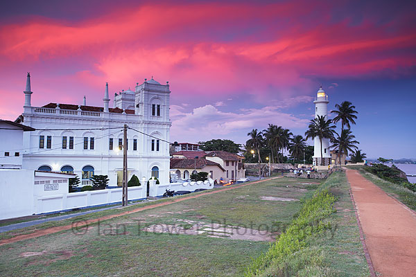 Sunset over mosque and lighthouse, Galle