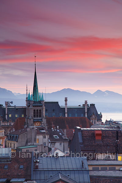 St Francois Church at sunset, Lausanne