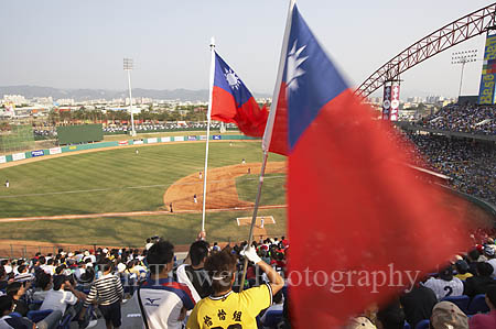 Taiwan Flag At Baseball Game, Taichung