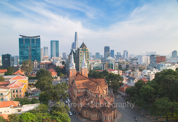 Notre Dame Cathedral and skyline, Ho Chi Minh City