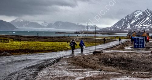Walking in the Arctic rain