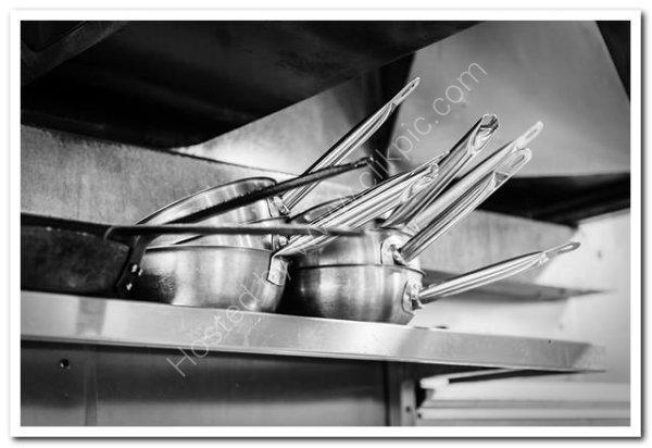 Hotel kitchen pan shelf
