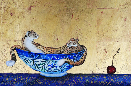 Imagine Gallery Bowl Of Cheetah S With Cherry By Jackie
