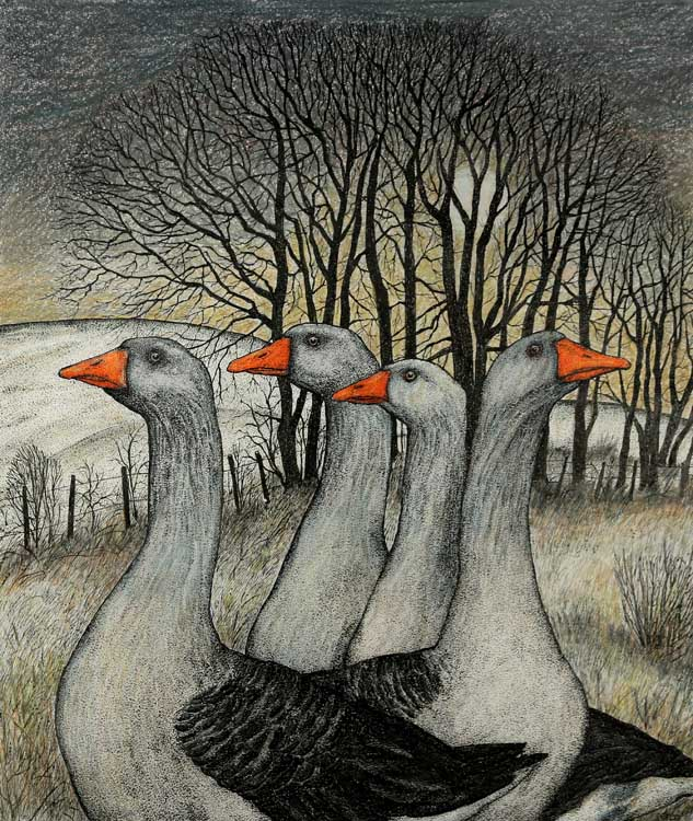 Geese by the Copse