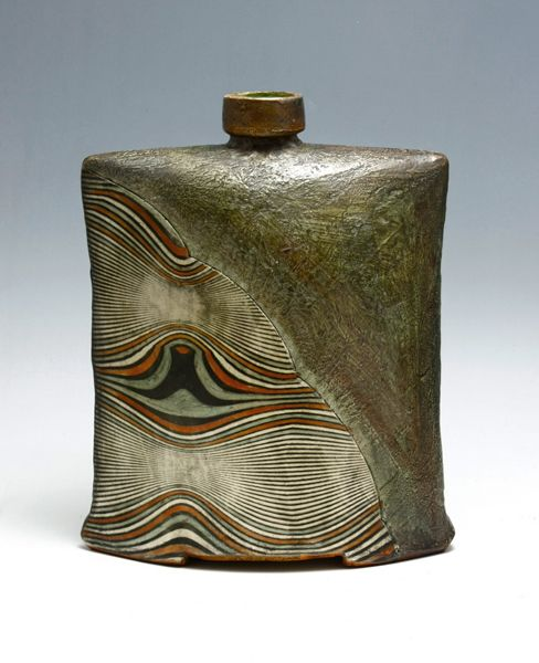 Green Textured Pot with Decoration