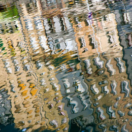 Town houses reflected in teh old basin, Honfleur, France