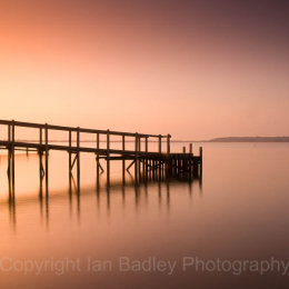 Mudeford Harbour pontoon at dawn, Dorset, England