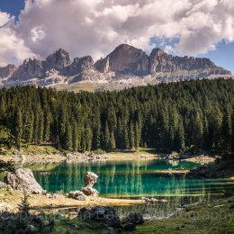 129 Emerald lake and mountains, Dolomites, Italy