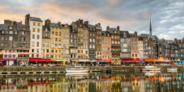 Town houses and moored boats at the old port of Honfleur, Normandy, France