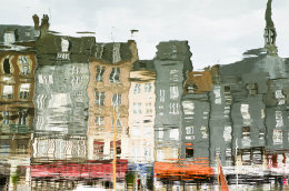 Reflection of the old port of Honfleur, Normandy, France