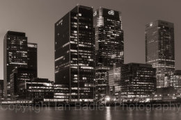 Canary Wharf buildings at twilight, London, England