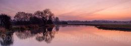 Sundown glow over the River Avon, Dorset, England