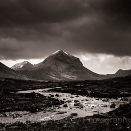 Sligachan River valley and a snow topped Marsco on the Isle of Skye, Scotland