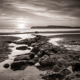 Sunset and rocks over Compton Bay, Isle of Wight, France
