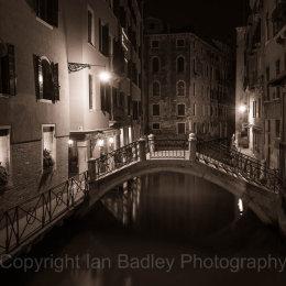 Venice calan and bridge at night, Italy