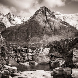 Fairy Pool and Cuillin Mountains,  Isle of Skye, Scotland