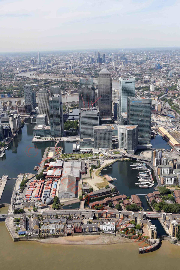 PIC SHOWS:- aerial pics of Canary Wharf, including the HSBC building.