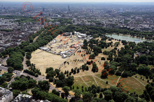 PIC SHOWS:- aerial views of Hyde Park, London
