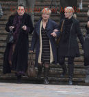 PICS SHOWS;Nannette Fraser, Brian Frasers wife  leaves court today with friends at Maidstone Crown Court. Today 13/2/13,after hearing her husbands not guilty verdict  Trial of Brian Fraser Accused of Attempted Murder of Louise Leggett.