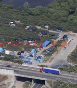 PICS SHOWS ;  Aerial Pictures taken today 24/6/15 at Calais over the New Jungle Site For The Immigrants.