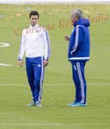PICS SHOWS ;Jose Mourinho takes training today at Cobham Training Ground Jose has a long Discussion with Eden Hazard.