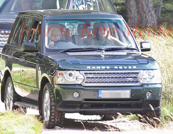 PIC SHOWS;The Queen Drives Herself and Carole Middleton  of The Grouse Moors on The Balmoral Estate .After Lunching with the Shooting Party Led By Prince William.