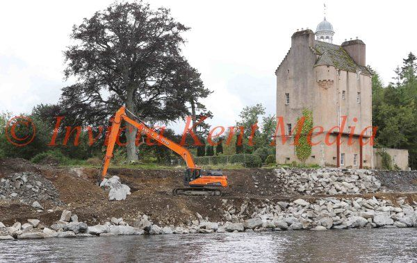 PIC SHOWS;The Grade A Listed Building Abergeldie Castle near Balmoral in Scotland owned By John Gordon is having A boulder Defence built Costing Millions, After  it was nearly washed away by the Recent Flooding of the River Dee.