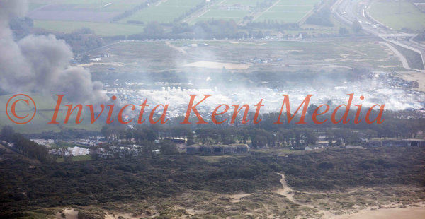 PIC SHOWS;rAerial pics of the Jungle in Calais on Fire 26.10.16