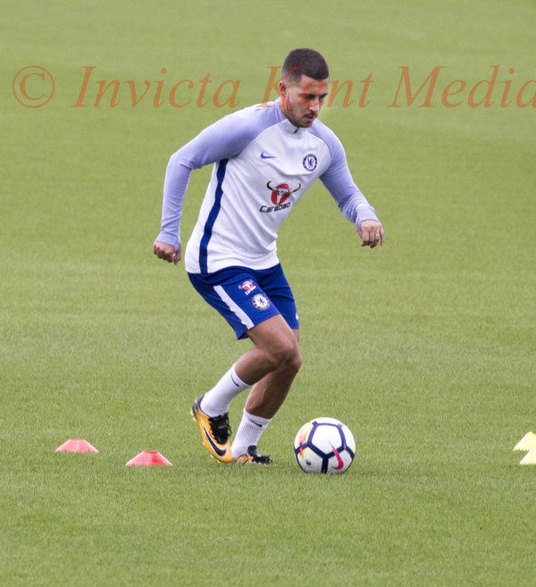 PIC SHOWS:Eden Hazard on the training pitch today at Cobham in Surrey Recovering from his recent injury that stopped him travelling with the First team squad on there Trip to the far east. EXCLUSIVE PICS JIM BENNETT