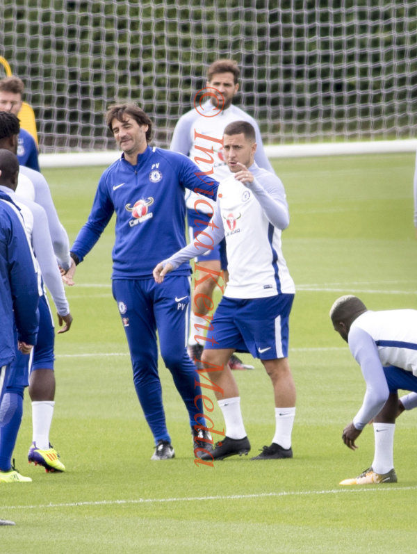 PIC SHOWSChelsea training today at Cobham Surrey.Hazard back in training with the first team Squad and Pedro sits it out.
