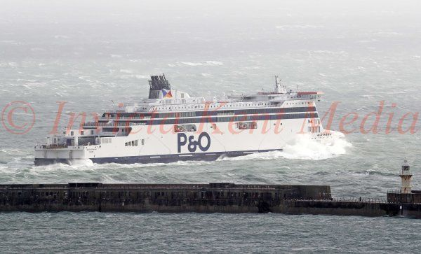 PIC SHOWS: Ferries arriving and departing from Dover  Docksin Kent in Rough Seas and High Winds
