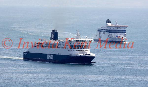 Ferries near Dover harbour, Kent.