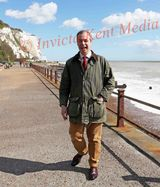 PICS SHOWS Nigel Farage at St Margarets Bay in Kent on a Immigration Poster Launch with The white Cliffs in The Background