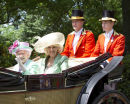 The Royal carriage procession on its way to Ascot Races.Today 19/6/13. The Queen and Camilla ride together