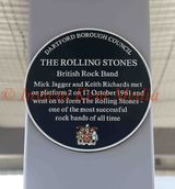 Pics show the Plaque at Dartford Railway Station Platform 2 where Mick Jagger first formed the Rolling Stones with Kieth Richard.