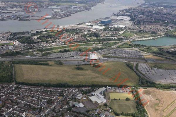 PIC SHOWS:- aerial views Eurostar facility at Ebbsfleet, kent, UK at Ebbsfleet