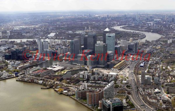 General aerial view of Canary Wharf, London