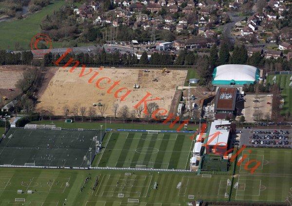 Aerial view of Chelsea FC training ground, Cobham, Surrey, UK