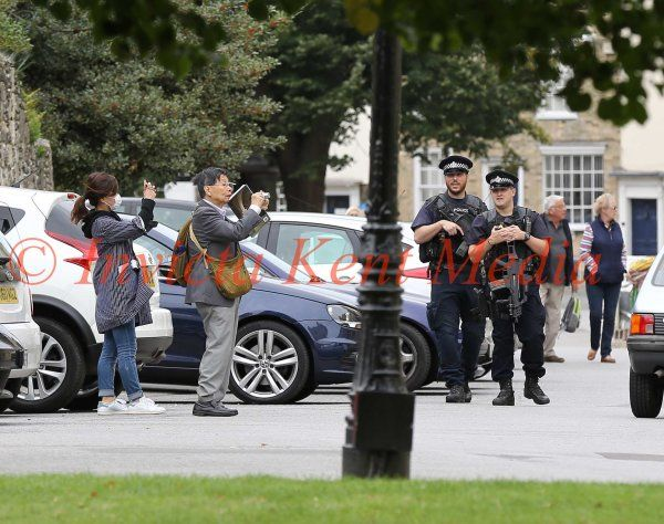 Armed Police Patrol Inside the Grounds of Canterbury Cathedral today 27/9/16