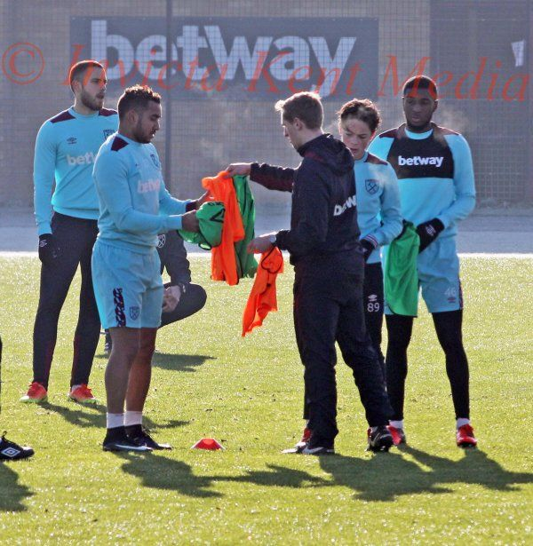 PIC SHOWS;Dimitri Payet Training today with the Under 23 Squad at Chadwell heath West Ham old Training ground.