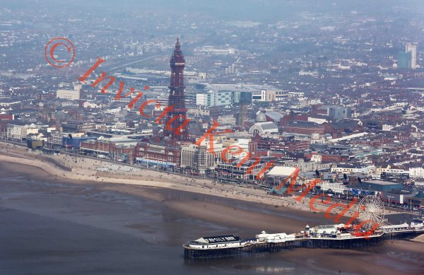 Aerial view of the Blackpool Tower and surrounding area