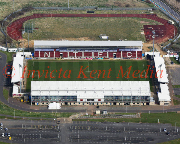 PIC SHOWS:- aerial pics of Sixfields stadium, home of Northampton Town FC