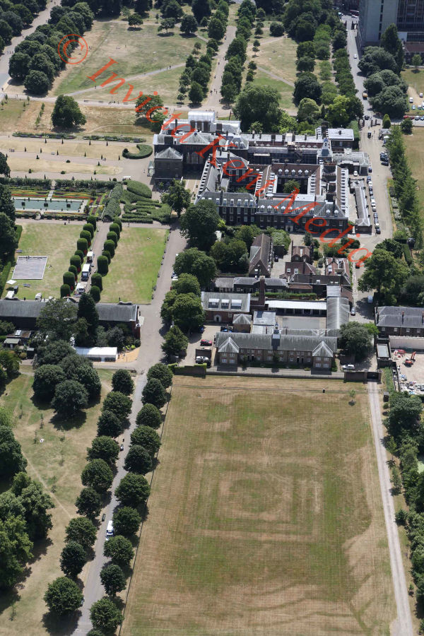 PIC SHOWS:- aerial pics of Kensington Palace and gardens