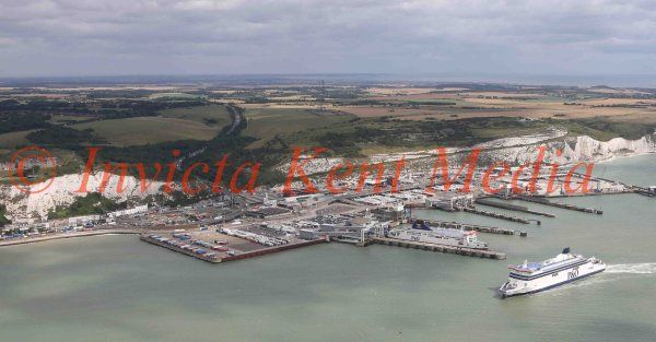 PICS SHOWS ; Aerial pictures of Operation Stack On M20 in Kent.Which has been Turned into a Giant Lorry Park. Lorries queing at Dover Docks Waiting for a ferry