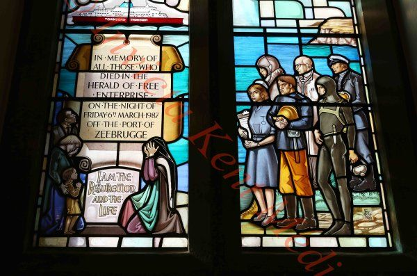 PICS SHOWS :Zeebrugge memorial service in Dover . Stained glass window in St Marys church, Dover where the ceremony was held.