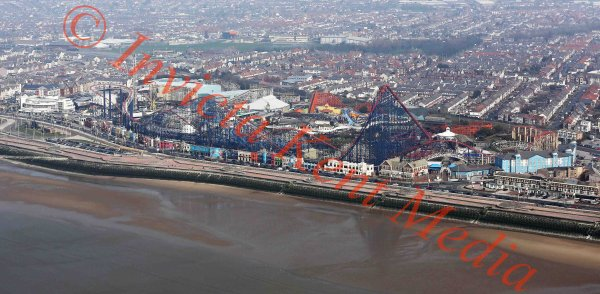 Aerial view of Blackpool pleasure beach and surrounding area
